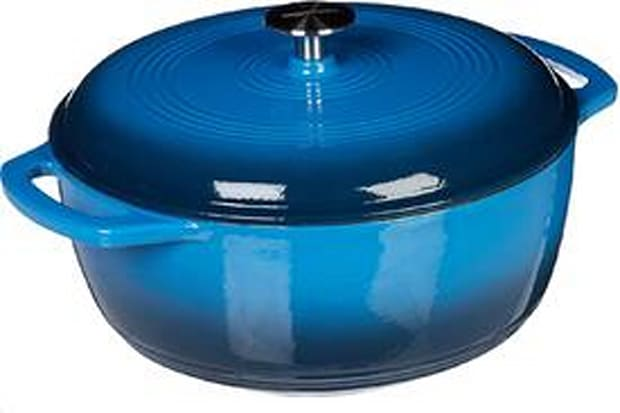 AmazonBasics Enameled Cast Iron Covered Dutch Oven, 6-Quart blue