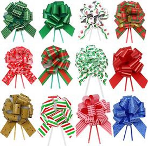 "JOYIN 24 Pieces Christmas Gift Wrap Ribbon Pull Bows (5"" Wide); Easy and Fast Gift Wrapping Accessory for Christmas Gifts, Bows, Baskets, Wine Bottles Decoration, Gift Wrapping and Decoration Present."