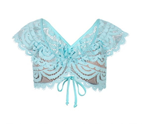 Crystal Blue Lace Ruffle Top