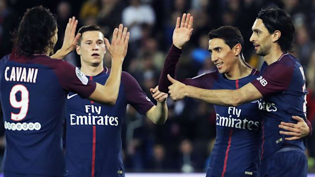 07ba32f26215 Paris Saint-Germain cruised to a fifth Ligue 1 title in six years thanks to  an astonishing 7-1 win over defending champions Monaco at the Parc des  Princes ...