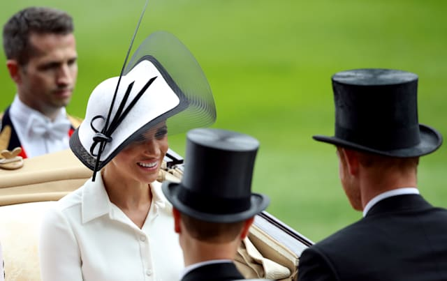 a723024cb4ae3c Meghan looks striking in Philip Treacy hat and Givenchy dress at Royal Ascot