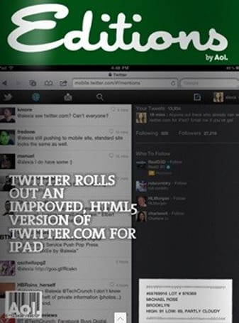 AOL launches Editions into the personal-newspaper iPad app fray