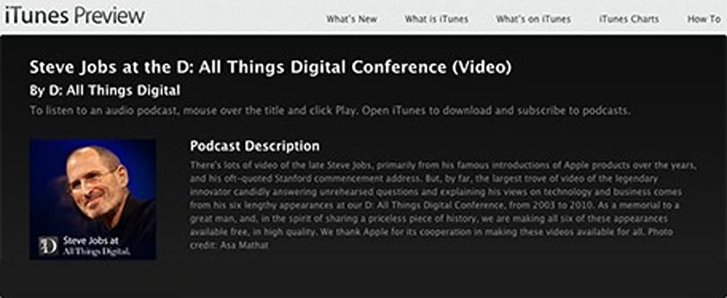 AllThingsD releases all its D Conference interviews with Steve Jobs