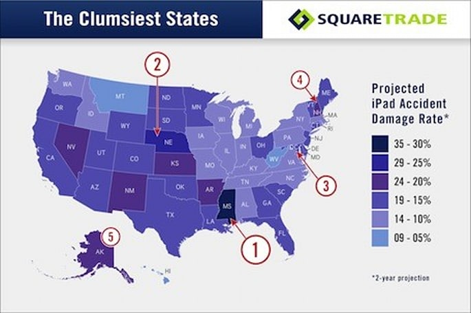 SquareTrade study shows why iPhones and iPads dislike Mississippi