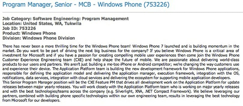 Microsoft job listing hints at annual Windows Phone updates
