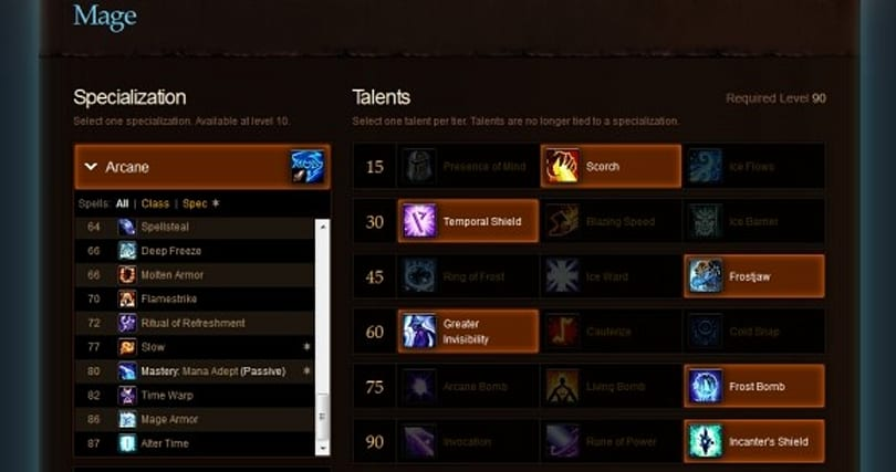 Arcane Brilliance: MoP talent calculator changes for mages, part 1