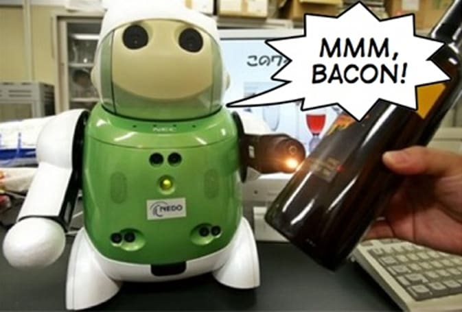 "NEC foodbot reveals dark secret: people taste like ""bacon"""