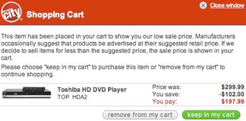 Toshiba A2 HD DVD Player for $200 at Circuit City