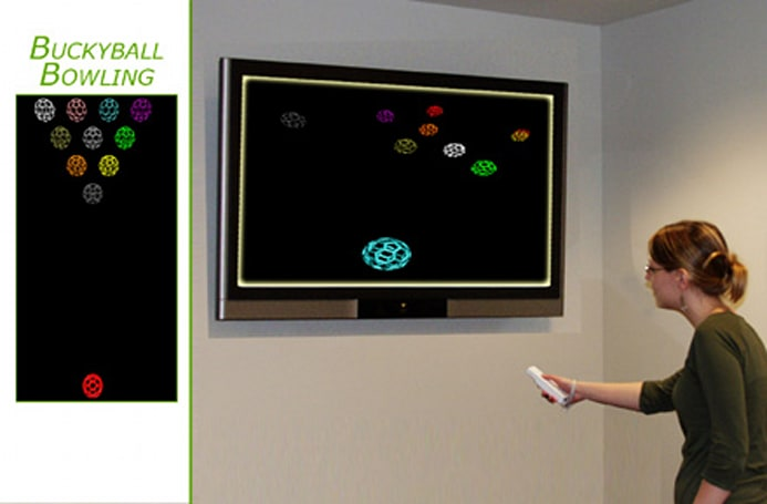 Wiimote used in Buckyball Bowling, other educational simulations