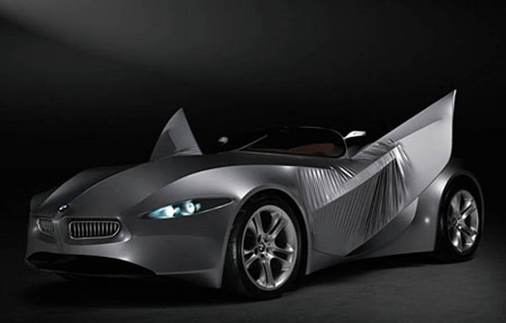 BMW GINA Light Visionary Model concept car has skin, skeleton, blinking eyes