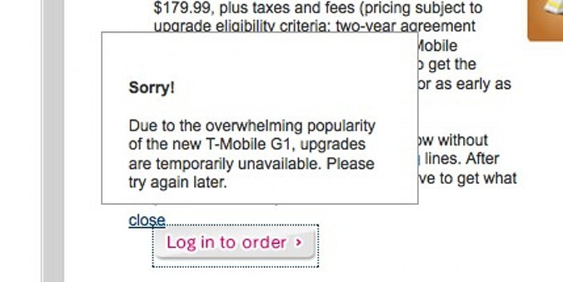 T-Mobile G1 pre-orders sell out (update: not quite yet)