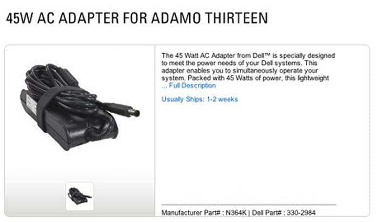 "Dell's AC Adapter for ""Adamo Thirteen"" is 45 Watts of bland"