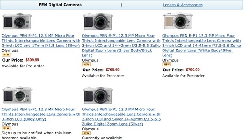 Olympus E-P1 now available for pre-order
