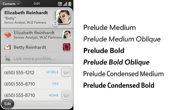 Font Bureau takes credit for Palm's custom 'Prelude' fonts; our hearts melt