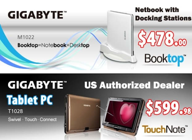 Gigabyte Booktop M1022 and TouchNote T1028 tablet PC make their way to US