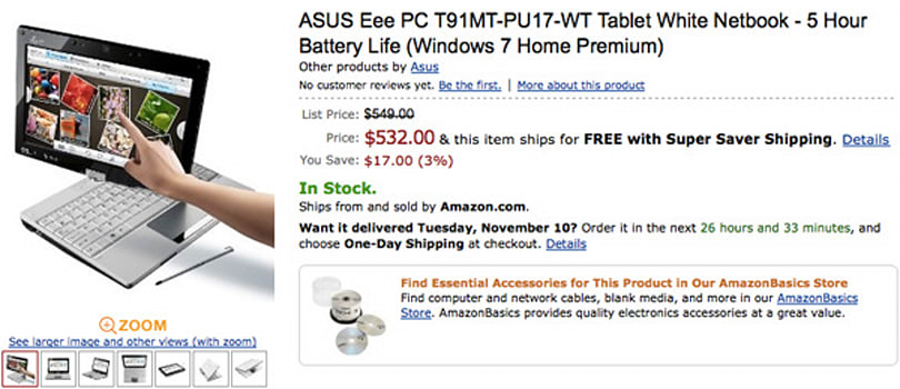 ASUS delivers Eee PC T91MT to Amazon.com, completes world tour