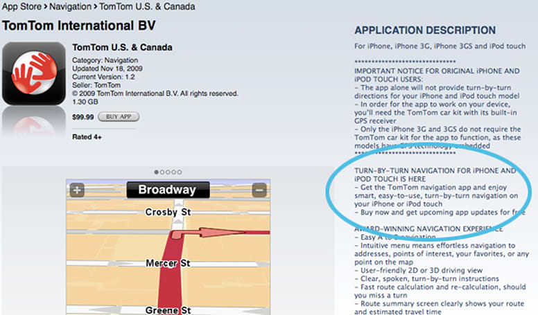 TomTom updated to support iPod touch and original iPhone