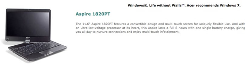 Aspire Timeline 1820PT convertible twists its way onto Acer's US site