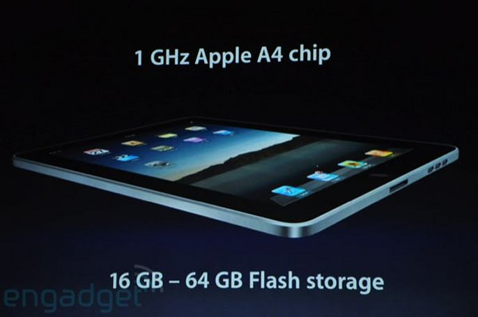 Apple iPad 使用自家的 Apple A4 1Ghz