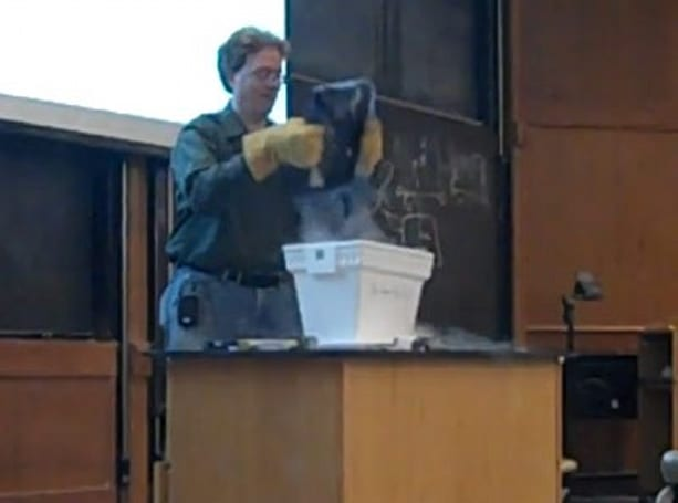 OU professor submerses laptop in liquid nitrogen, smashes it to prove a point (video)