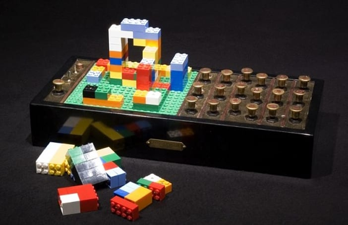 Steampunk sequencer generates audio from Lego blocks