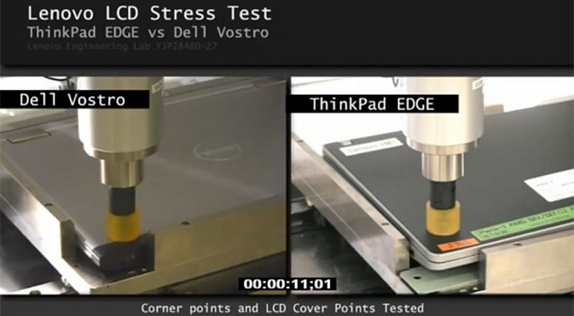 ThinkPad Edge beats Vostro V13 in LCD stress test (video)