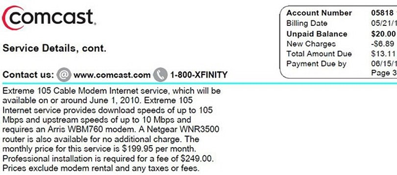 Comcast to offer Extreme 105Mbps broadband package starting in June?