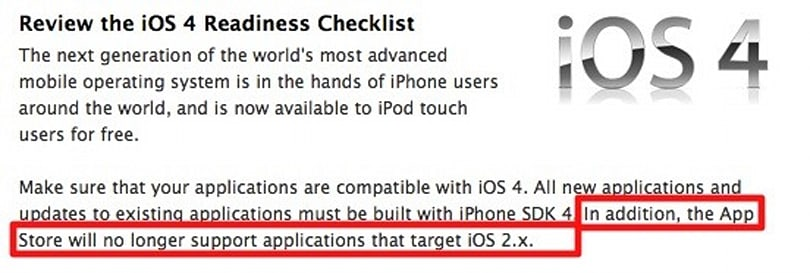 iPhone OS 2 apps no longer welcome on the App Store