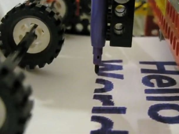 Lego printer writes 'Hello World' with felt-tipped pen (video)