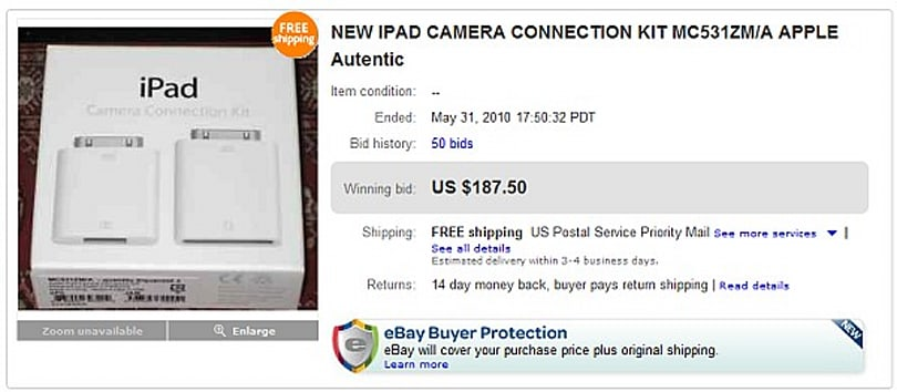 iPad Camera Connection Kit a commodity item, now fetches $100+ on eBay
