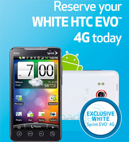 White HTC EVO 4G coming exclusively to Best Buy on July 11th, pre-orders start today