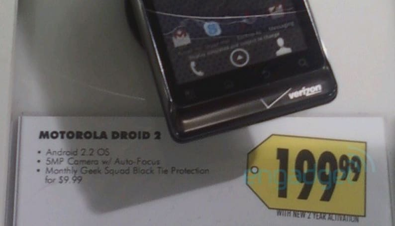 Best Buy pegs Droid 2 at $199 with 2-year activation, $599 without (updated)