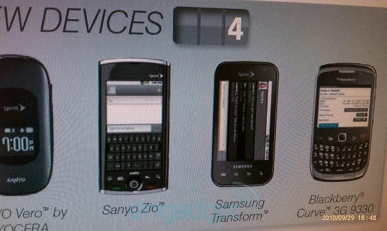 Samsung Transform pictured in Sprint document, alongside Kyocera... err, Sanyo Zio?