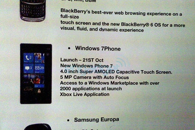 UK carrier's roadmap points to October 21 release for Windows Phone 7, over 2,000 apps at launch