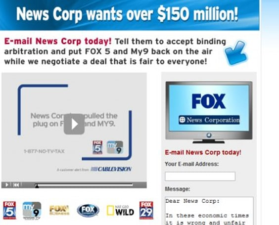 Fox channels (Fox5, My9) disappear from Cablevision lineup