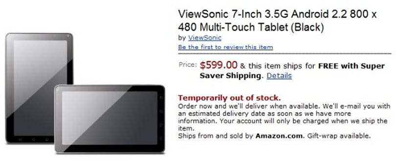 ViewSonic ViewPad 7 tablet up for pre-order, now costs a wallet-crunching $599