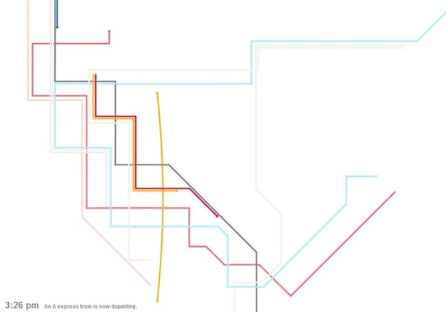 New York subway schedule turned into a beautiful, musical visualization (video)