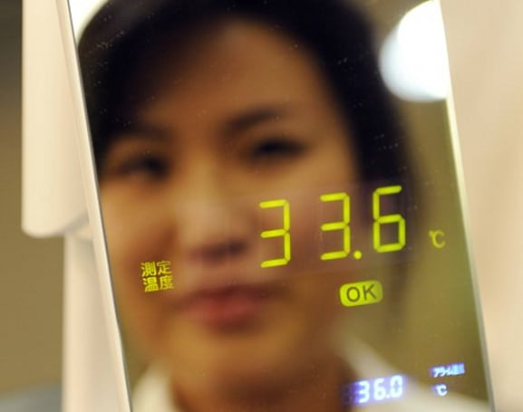 Thermo Mirror measures body temperature, gives us something else to stare at