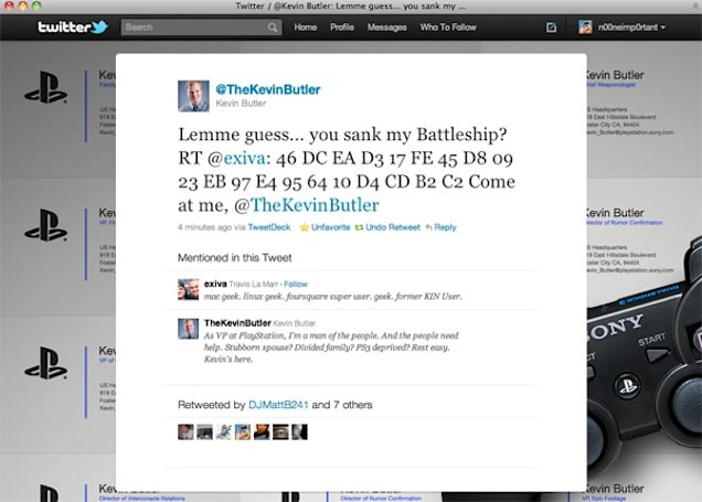 PS3 'jailbreak code' retweeted by Sony's Kevin Butler, no punchline needed