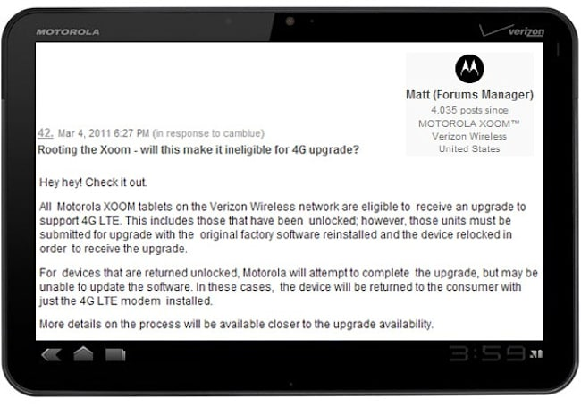 Motorola will upgrade your Xoom to 4G LTE -- even if you've rooted it
