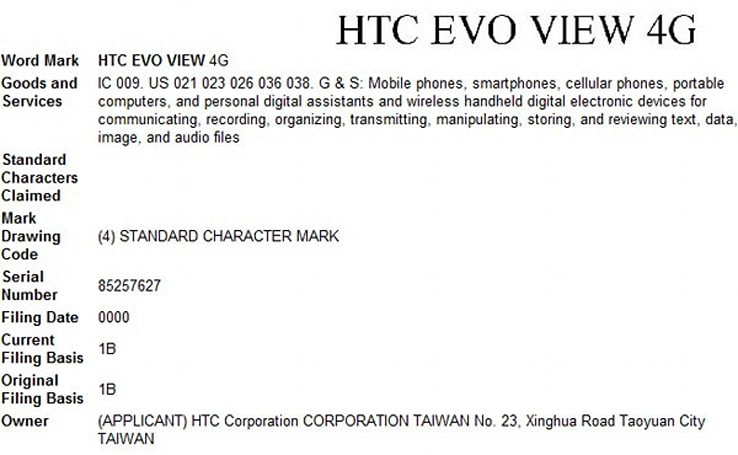 HTC seeks EVO View 4G trademark, all but confirming WiMAX tablet for Sprint