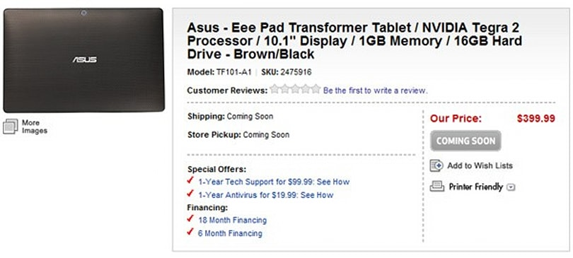 ASUS Eee Pad Transformer shows up at Best Buy for $400 (update: dock price)