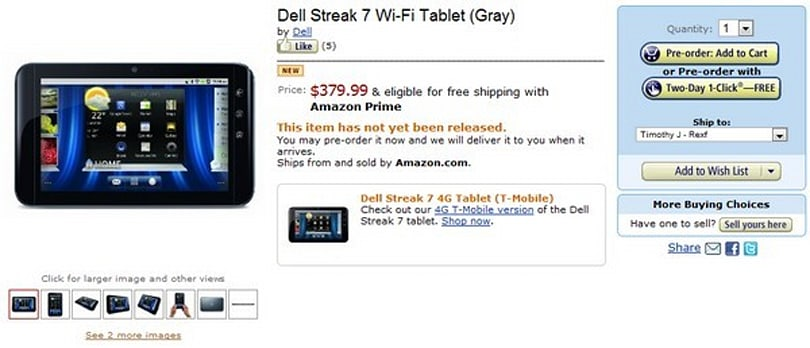 Dell Streak 7 gets certified in WiFi-only form, shows up on Amazon for pre-order