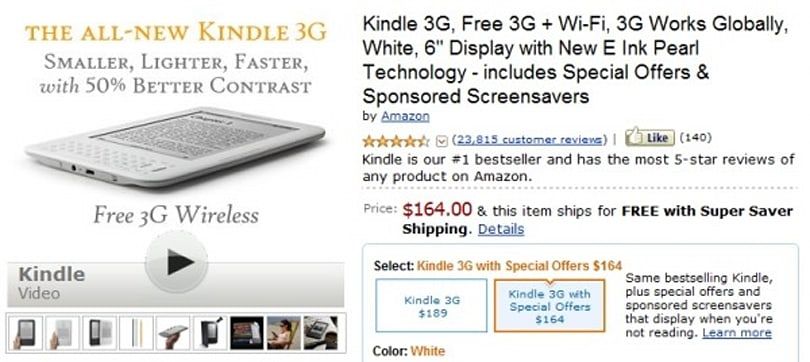 Kindle 3G gets ad-supported $164 version, basically sells your eyeballs for a $25 discount