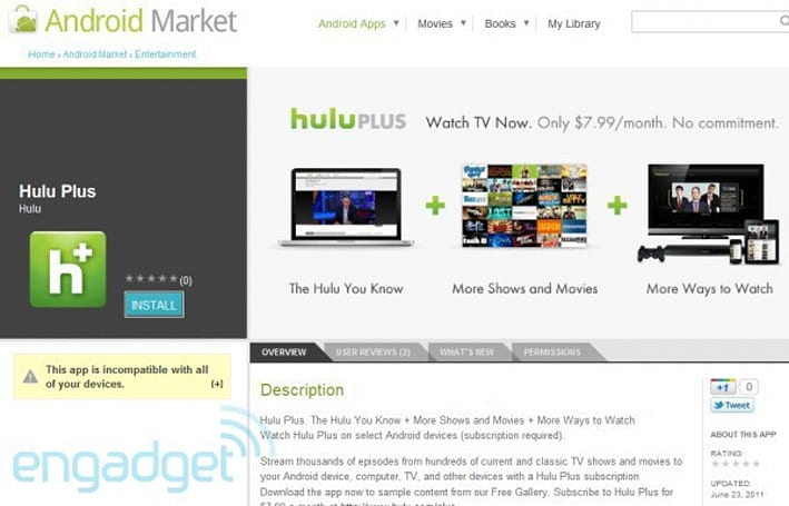 Hulu Plus for Android is available now    for six devices