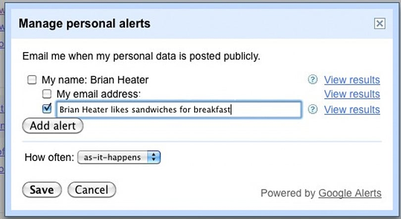 Google helps you manage your online identity, justify those vanity Alerts