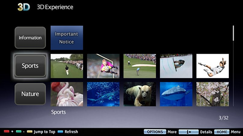 Sony 3D Experience brings free on-demand movie trailers, sports clips to Bravia TVs
