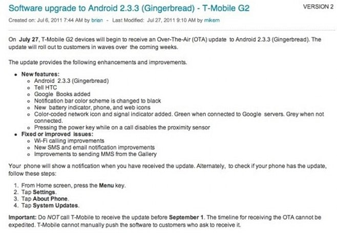 T-Mobile G2 gets its turn for Gingerbread, OTA rolling out now
