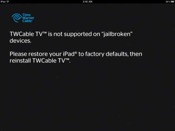 Time Warner Cable iPad app hates jailbreaks, loves gratuitous quotes (updated)
