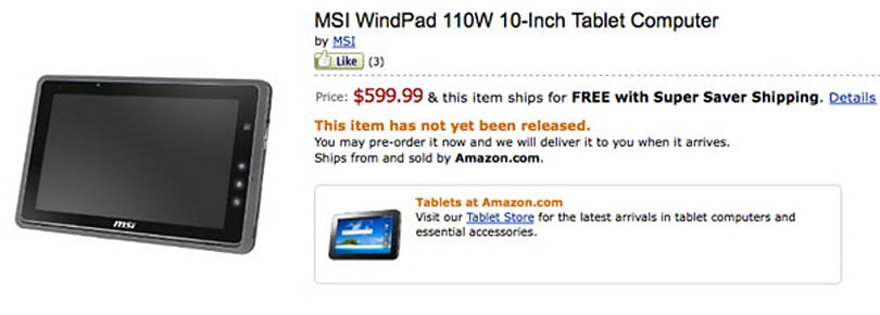 MSI's Brazos-powered WindPad 110w tablet officially up for pre-order, ships August 1st